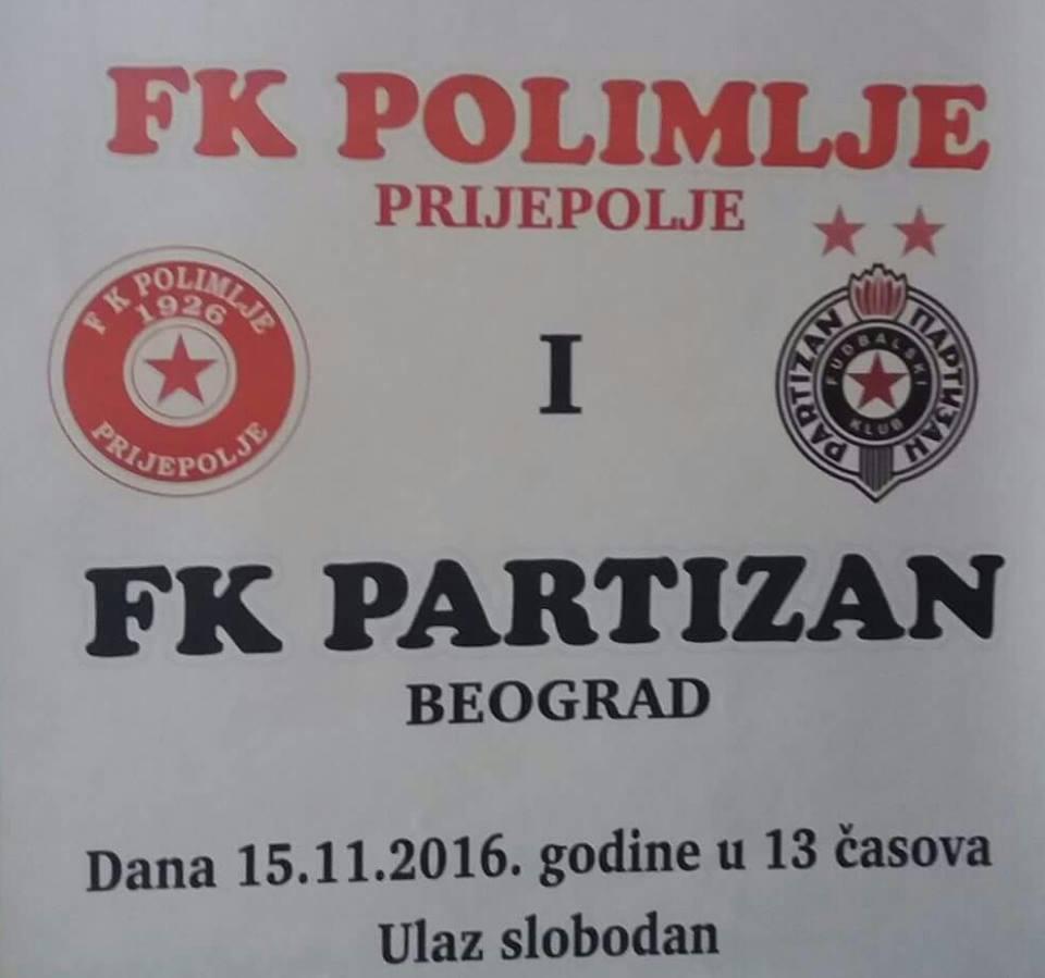 FK Polimlje - FK Partizan, utorak 13h Gradski stadion u Prijepolju